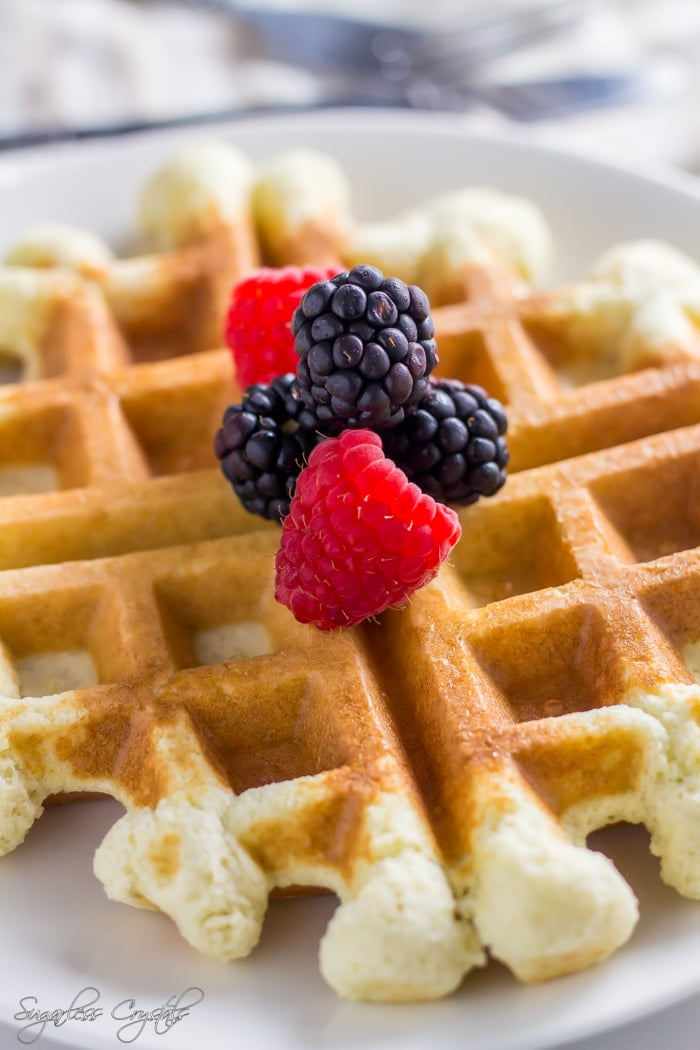Coconut flour waffles with berries