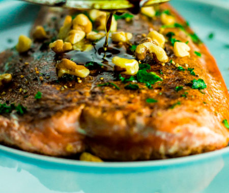 Low Carb Cinnamon Walnut Pan Fried Salmon