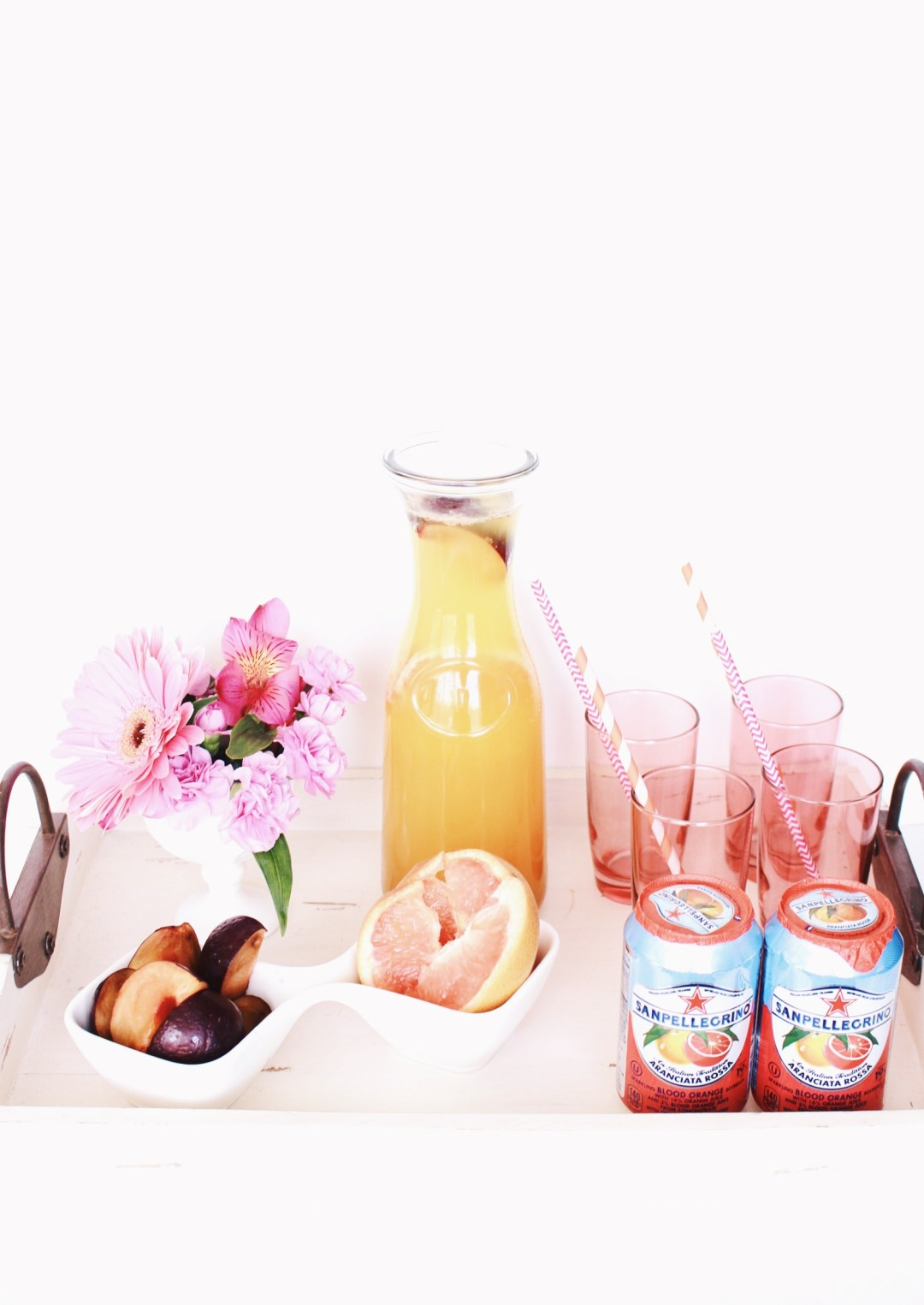 Sparkling Fruit Carafe and Serving Tray