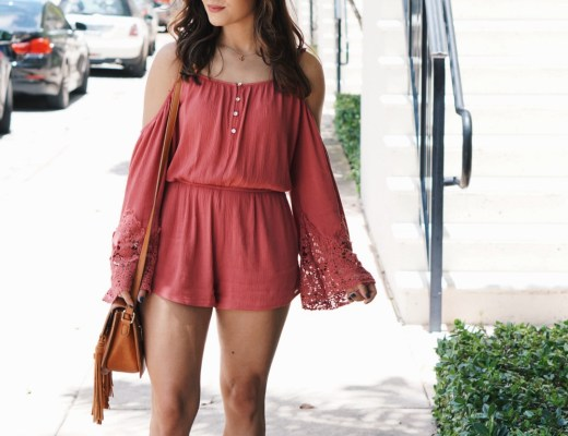 Fashion Blogger Styles Open Shoulder Romper