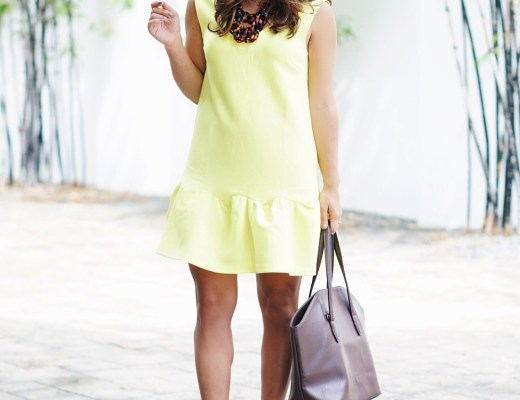 Yellow Ruffled Hem Dress