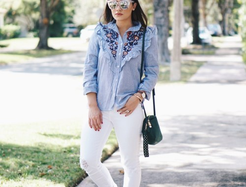 Sugar Love Chic blogger Krista Perez styles aFloral Embroidered Shirt That's Perfect for Spring