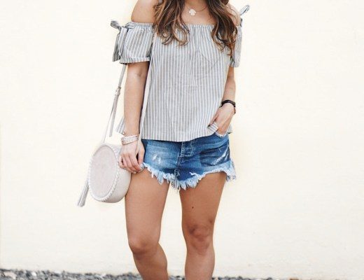 Sugar Love Chic blogger Krista Perez shows how to wear cutoff denim shorts with off shoulder top