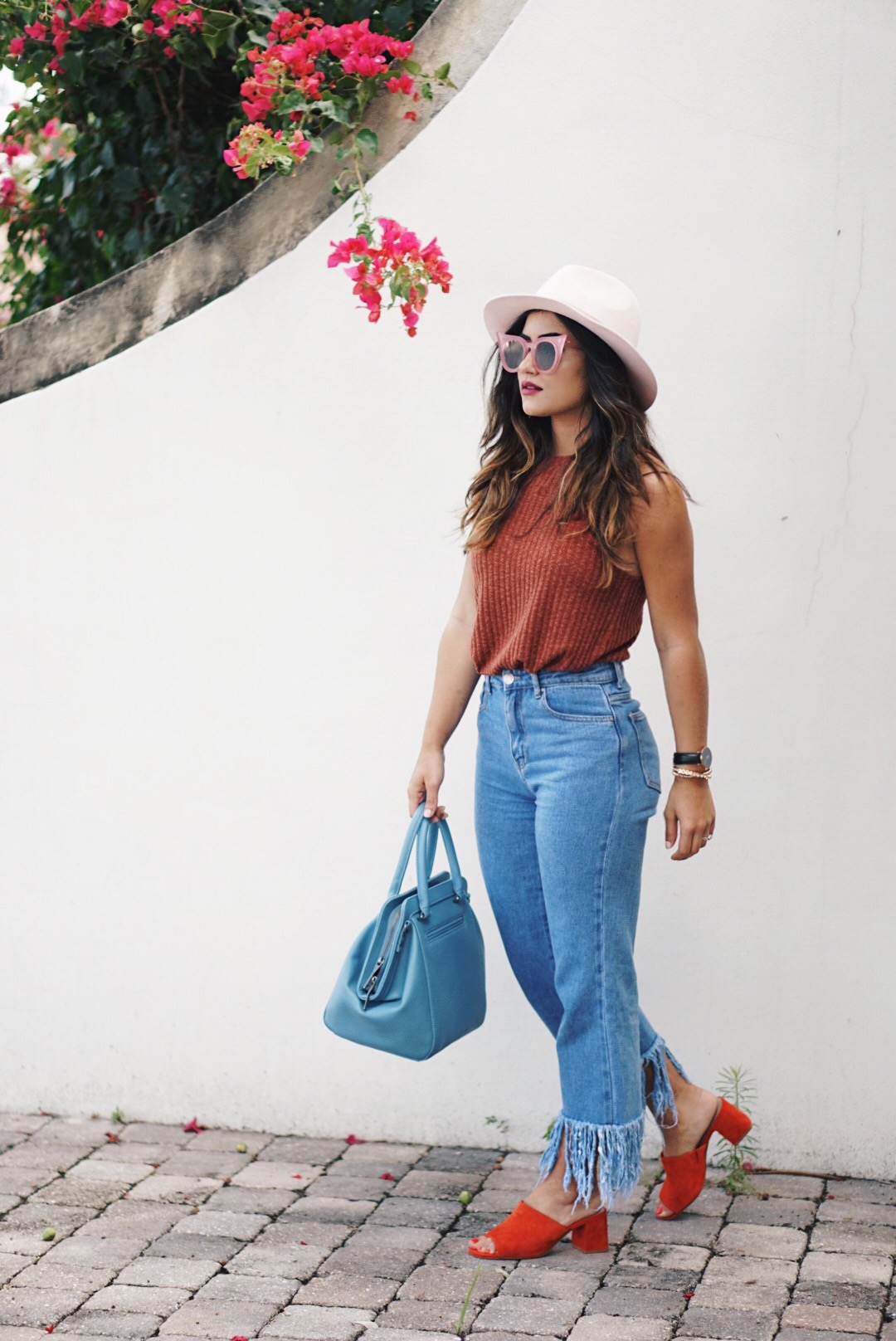 Sugar Love Chic blogger Krista Perez shares a Fringe Jeans and Mules outfit