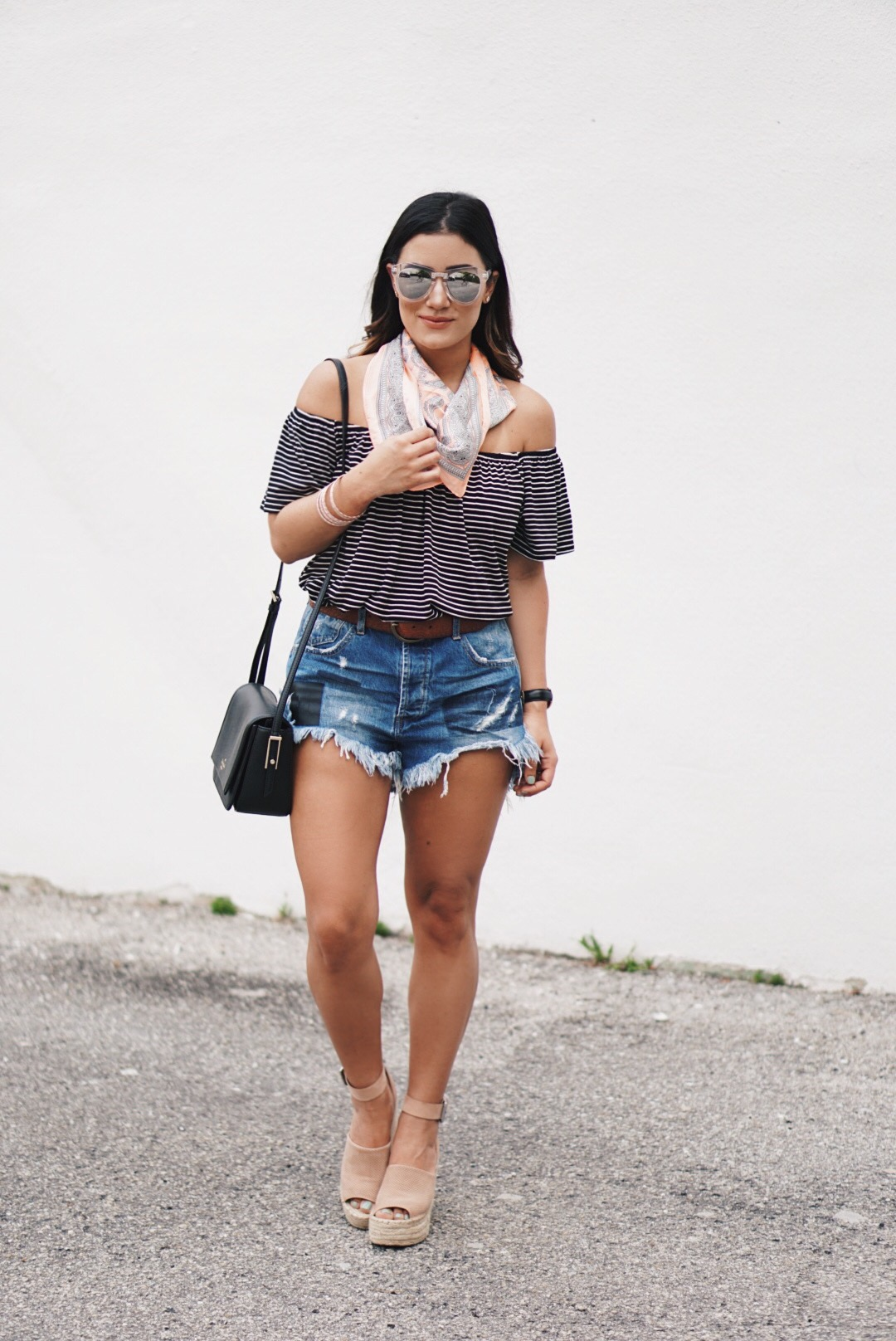 Sugar Love Chic blogger Krista Perez styles a Cutoffs and Off Shoulder Tops outfit