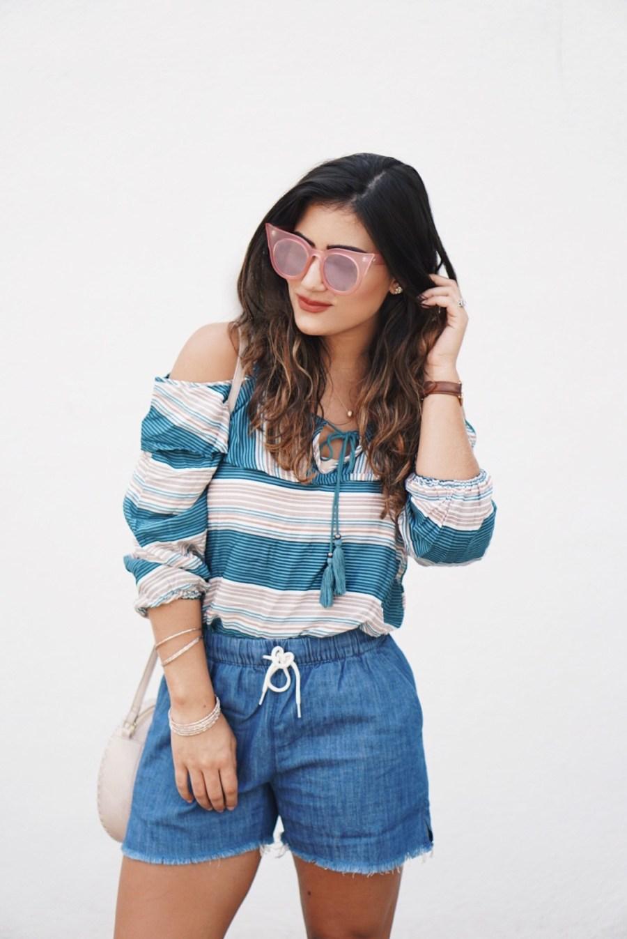 Sugar Love Chic blogger Krista Perez style Wild Blue Denim Cold Shoulder Top under $45