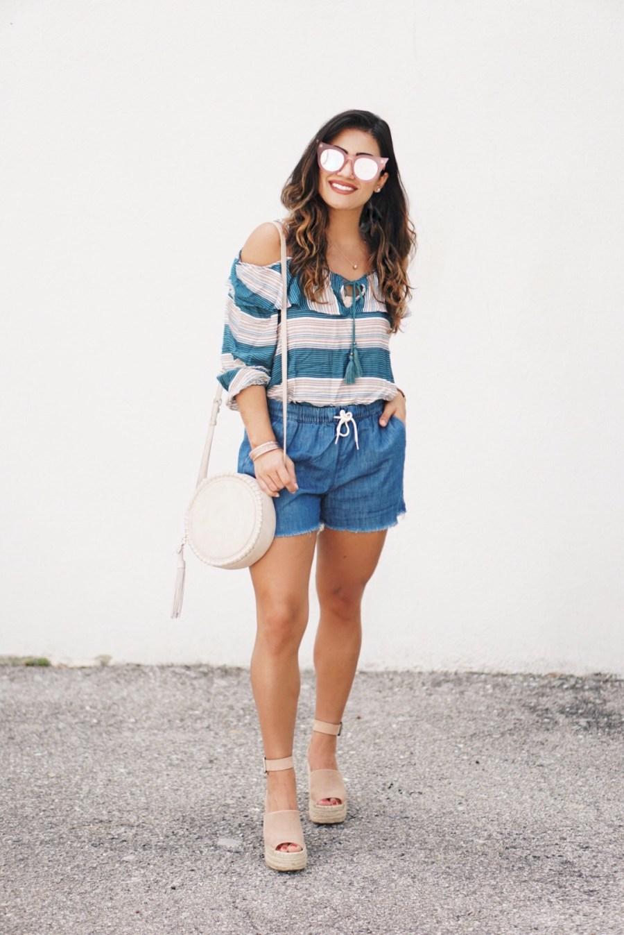 Sugar Love Chic blogger Krista Perez style Wild Blue Denim Cold Shoulder Top under $30