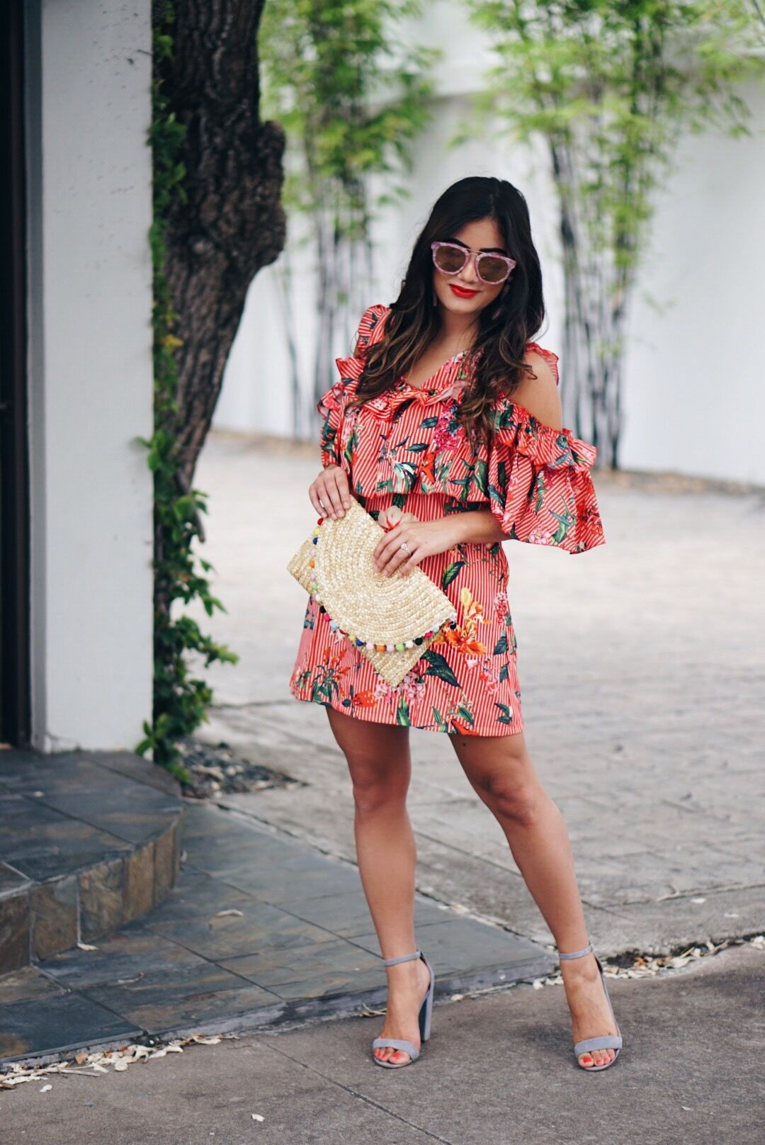 Sugar Love Chic blogger style red ruffle floral dress
