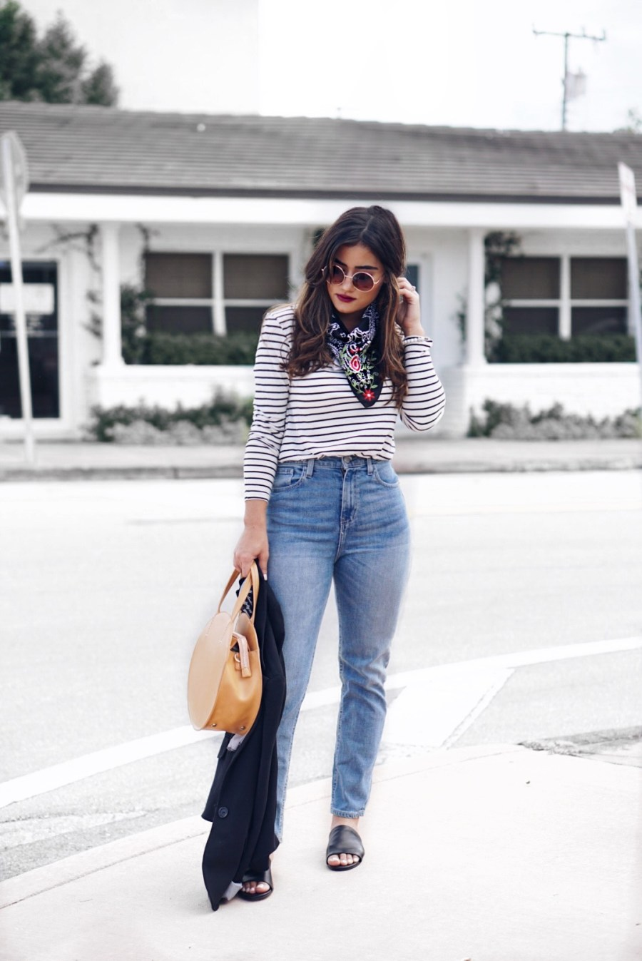 Stripes and High-Waisted Denim