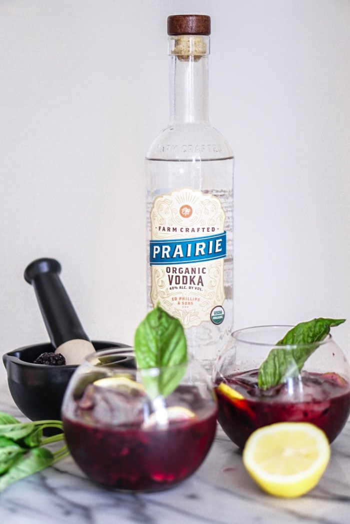 Blackberry Basil Ginger Fizz with Prairie Organic Vodka