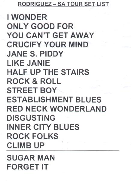 Tour Set List