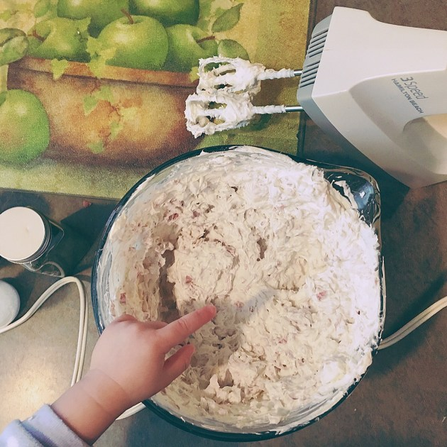 Mixing up bagel dip for a fun party!