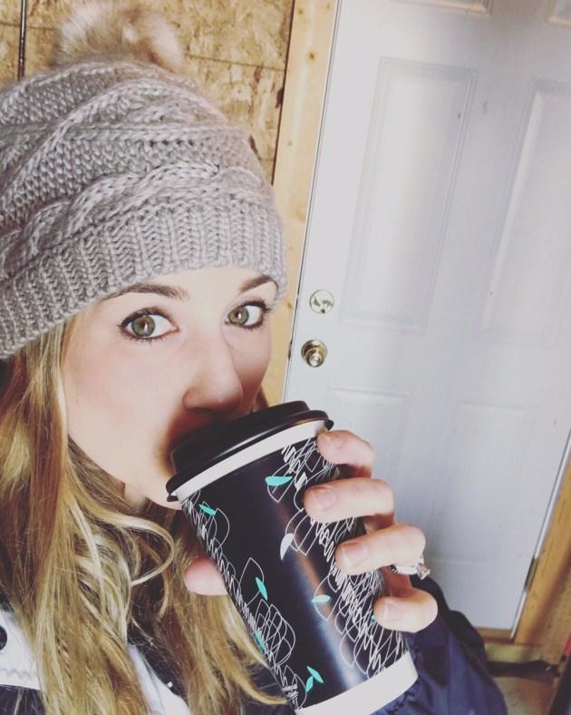 Sarah Harmsen drinking hot cider.