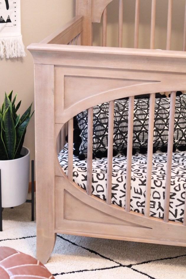 Modern Neutral Nursery Reveal - Milk Street Baby Crib in Cameo