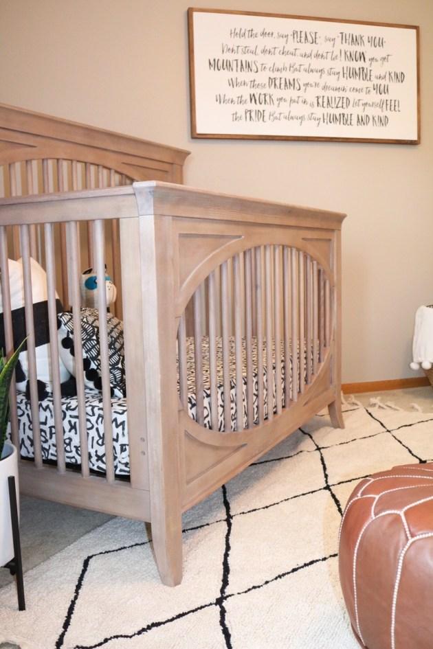 Modern Neutral Nursery Reveal - Milk Street Cameo Crib in Toast Finish