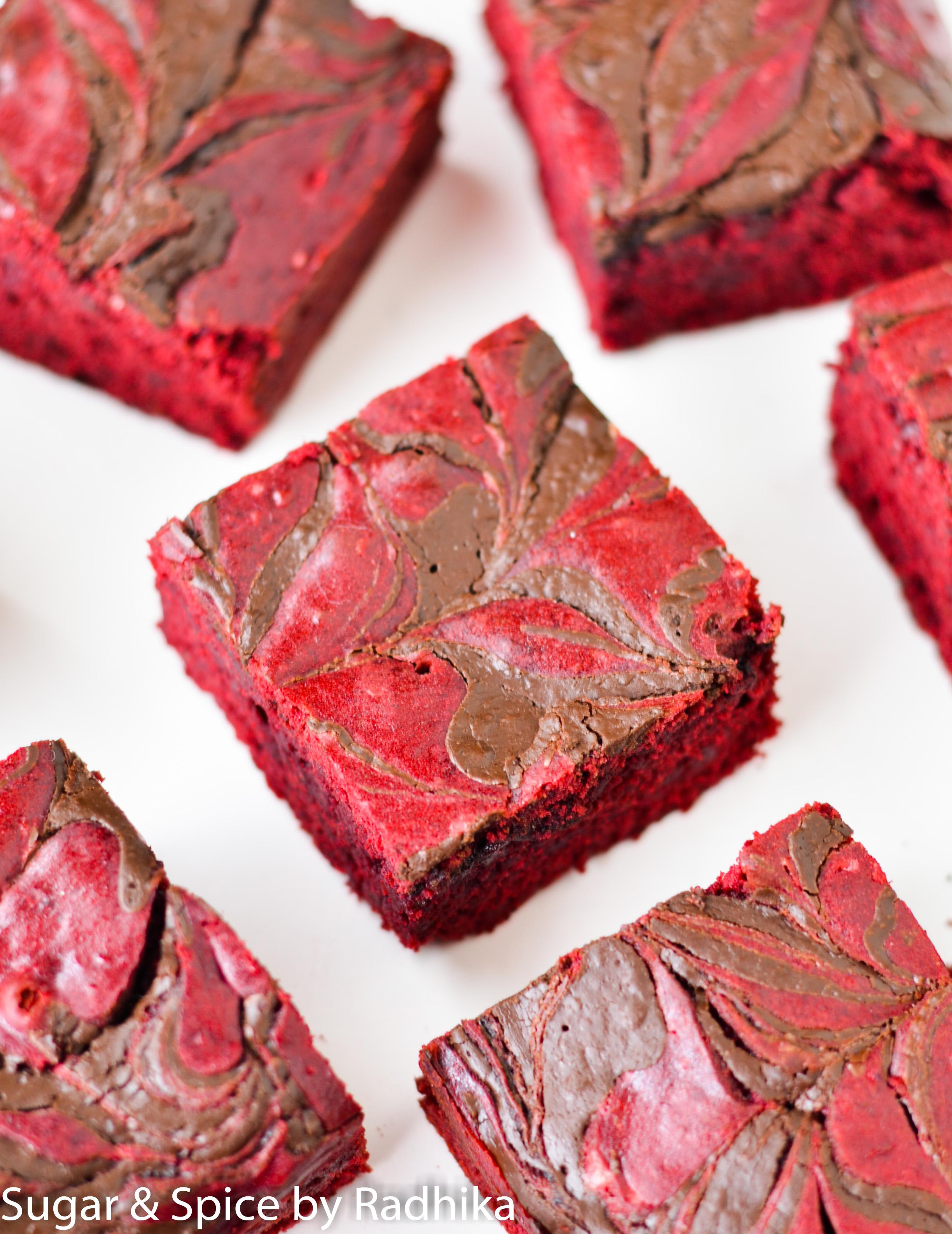Red velvet chocolate swirl brownies