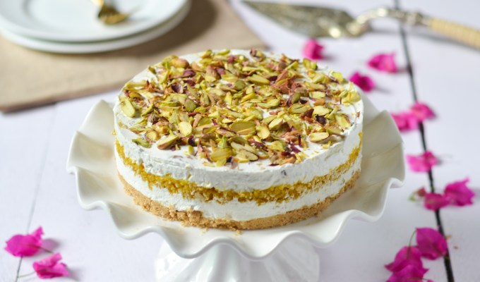 No-Bake Pistachio and Boondi Cheesecake