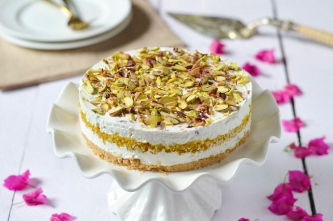 Pistachio and Boondi Cheesecake