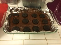 Press each Oreo slightly into the batter