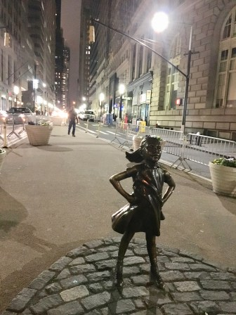 Fearless Girl statue down in the Financial District