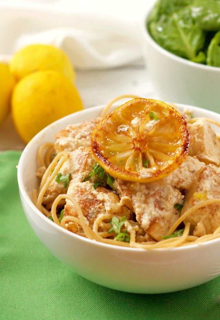 Creamy lemon chicken spaghetti