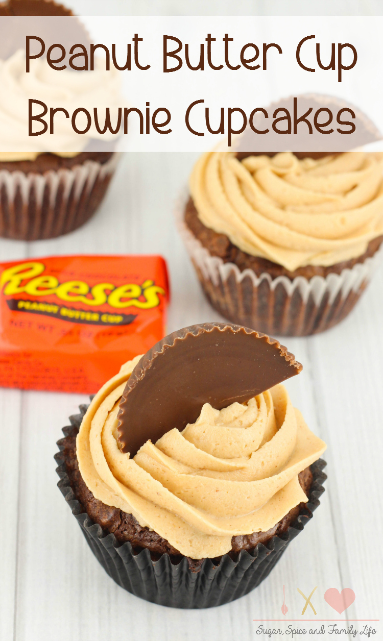 Peanut Butter Cup Stuffed Brownie Cupcakes
