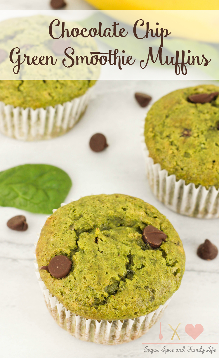 Chocolate Chip Green Smoothie Muffins