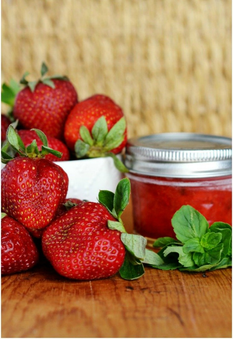 No Cook Strawberry Mint Freezer Jam
