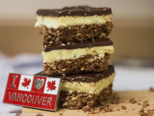 I love Vancouver magnet is leaning against stack of 3 Nanaimo bars