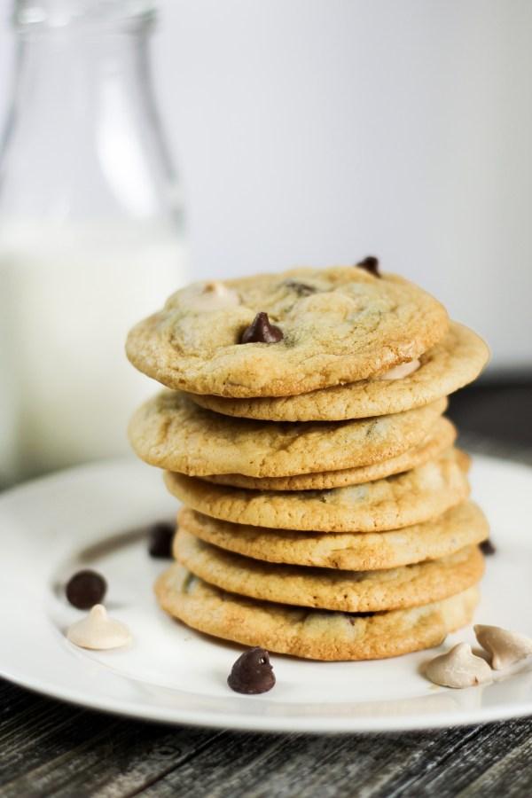 Brown Butter Sea Salt Caramel Chocolate Chip Cookies. Soft, brown butter cookies with sea salt, caramel, and chocolate chips. The perfect cookie!