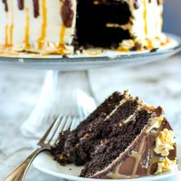 Chocolate Caramel Cake. A moist chocolate cake with caramel pretzel filling, caramel buttercream frosting, and finished with chocolate ganache. This cake is the stuff dreams are made of.