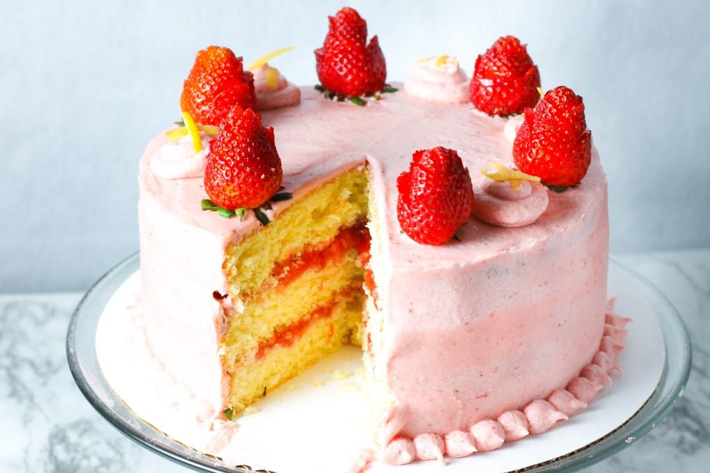 Lemon Strawberry Cake Recipe Sugarspiceslife