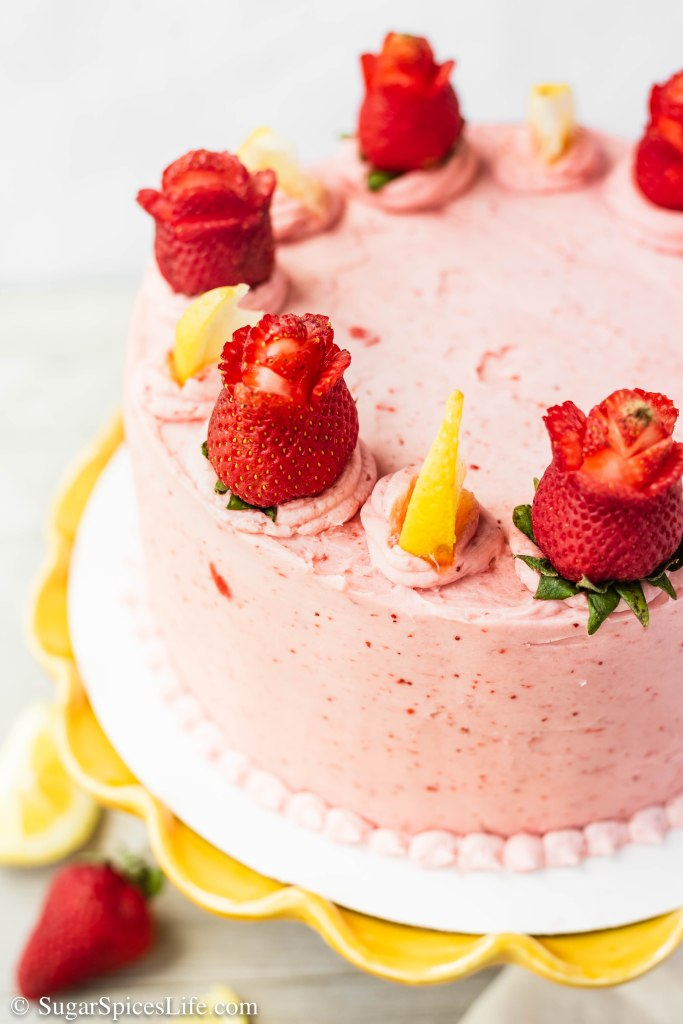 Lemon Strawberry Cake. Soft, lemon cake layers with a strawberry filling and strawberry buttercream frosting. Delicious combination of sweet and tang!