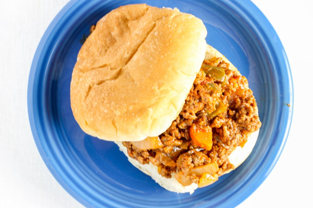Sloppy Joes. Ground beef with lots of veggies, and not overpowering with the ketchup. A healthier and tastier take on Sloppy Joes.
