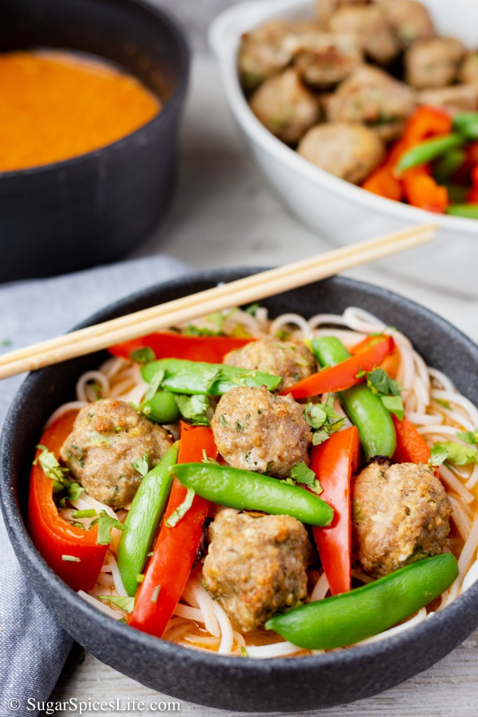 Thai Curry Soup with Turkey Meatballs. A curry soup with rice noodles, topped with red peppers, sugar snap peas, and lemongrass turkey meatballs. Flavorful, filling, healthy and super delicious.