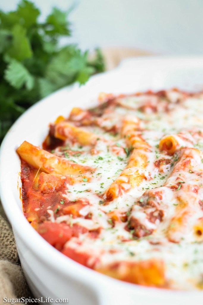This baked ziti has a sweet, delicious sauce filled with beef, and topped with cheese. It doesn't take much time or effort to put it together. And, it'll feed a crowd, which is good, since the taste will bring one!