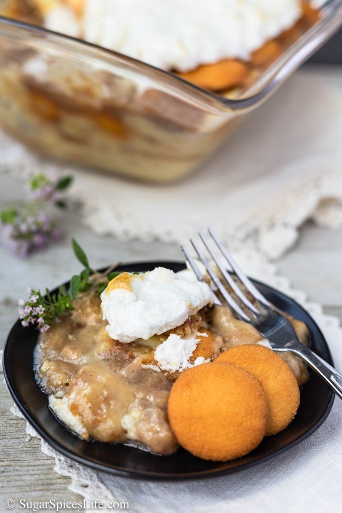 Homemade vanilla pudding with Nilla wafers and caramelized bananas, then topped with meringue. This Caramelized Banana Pudding takes your banana pudding to a new level!