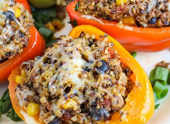 Quinoa Turkey Enchilada Stuffed Peppers