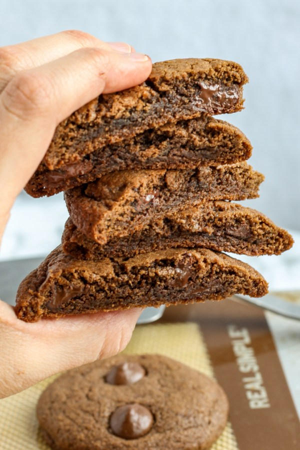 Triple Chocolate Cookies. Fudgy, chocolate cookies made with melted Baker's chocolate, cocoa powder, dark chocolate chips, and chocolate chunks. A chocolate lover's dream!