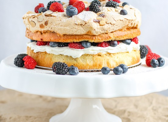 Almond Berry Meringue Cake