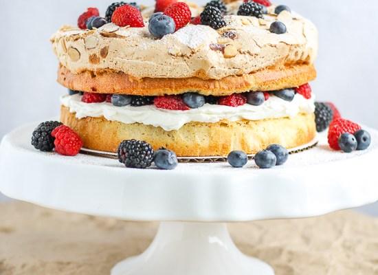 Almond Berry Meringue Cake