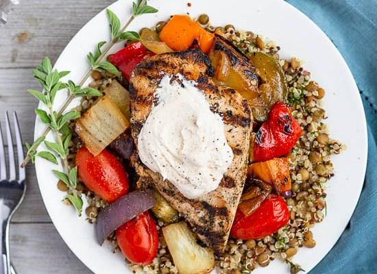 Chicken and Vegetable Salad with Yogurt Tahini Sauce