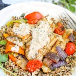 Chicken and Vegetable Salad with Yogurt Tahini Sauce. Grilled chicken and vegetables over a quinoa lentil salad with fresh dill, finished with a yogurt tahini sauce. Full of flavor. The best meal you will eat all summer.