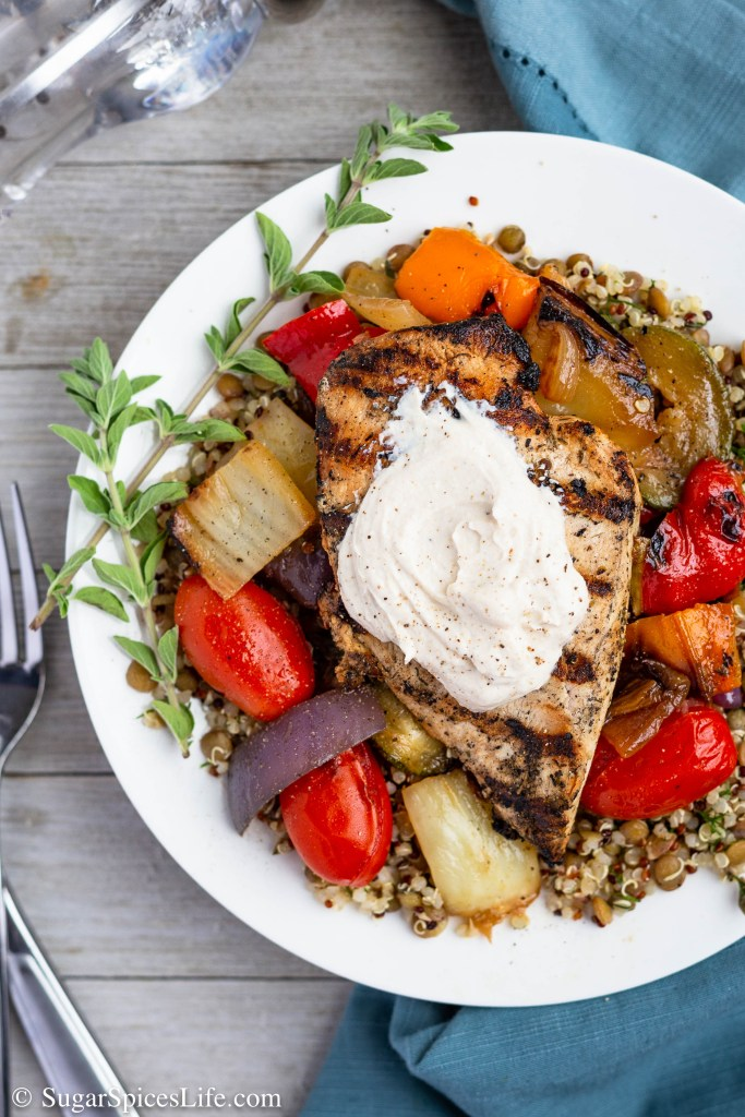 Chicken and Vegetable Salad with Yogurt Tahini Sauce. Grilled chicken and vegetables over a quinoa lentil salad with fresh dill, finished with a yogurt tahini sauce. Full of amazing flavor.