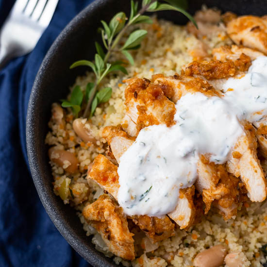 Harissa Chicken with Couscous and Mint Sauce