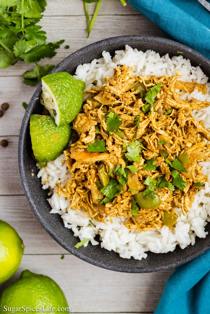 Jamaican Curry Chicken and Coconut Rice (Instant Pot). Tender, shredded chicken seasoned with curry and all spice, and served over coconut rice. Easy to make and full of amazing flavors.