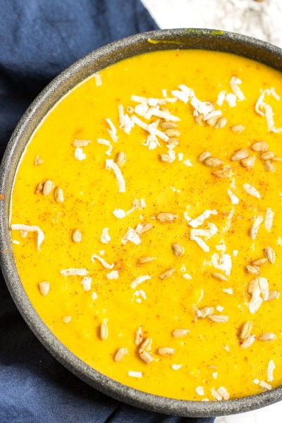 Roasted Summer Squash Soup. Yellow, summer squash roasted with cinnamon then mixed with coconut milk and spices, topped with coconut and sunflower seeds. Move over butternut squash soup, yellow squash can make a tasty soup too.