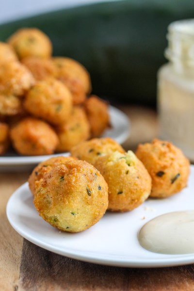 Zucchini Hush Puppies With Wasabi Dipping Sauce Recipe Sugar