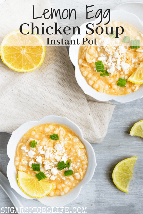 Instant Pot Lemon Egg Chicken Soup. Creamy, delicious lemon egg soup filled with chicken and Israeli couscous. Filling, full of flavor, and healthy!