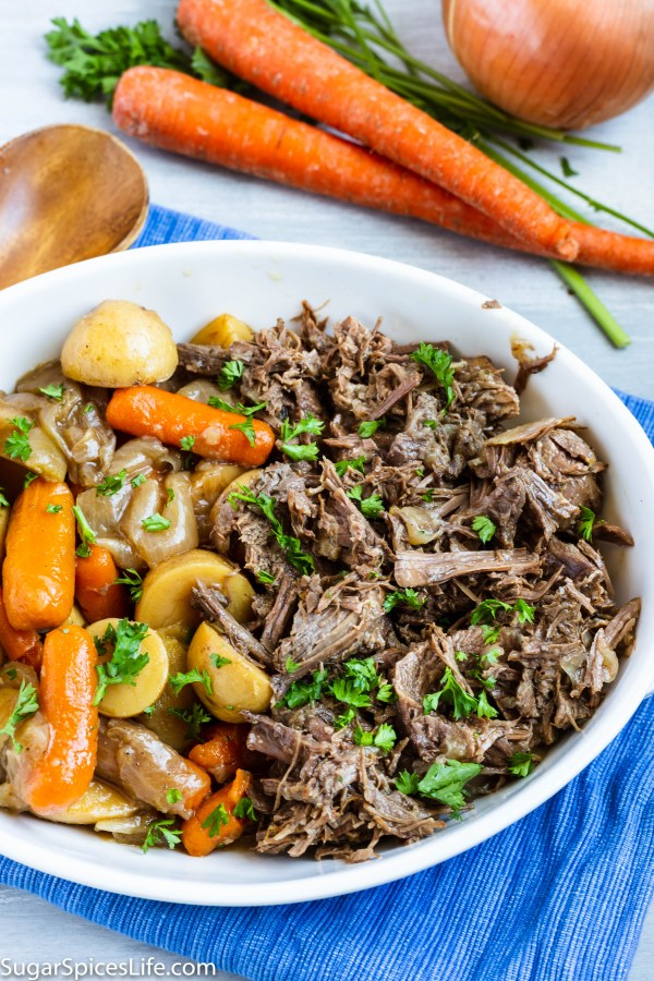 Instant Pot Pot Roast. Fall apart tender beef with deliciously seasoned carrots and potatoes. The tastiest, and easiest, way to make pot roast.